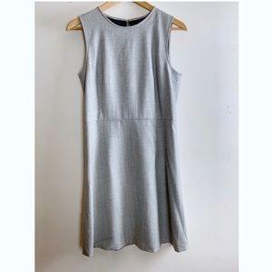Theory Lt. Grey Wool Blend Herringbone Shift Dress